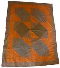 Vintage Indian Kantha stitched Geometric hand-embroidered quilt-top/ bedspread