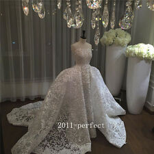 Luxury Wedding Dress Vintage Puffy Detachable Train Bridal Ball Gown Custom Size