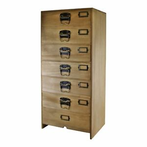 Small Tall 7 Drawer Chest Cabinet Home Office Storage Solid Wood No Assembly