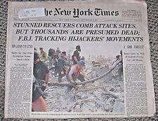 New York Times Newspaper September 13 2001 11 Late Edition Ground Zero World NYC