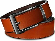 Classic Men's Leather Ratchet Click Belt - Gun Metal Buckle with Sienna Tan Leat