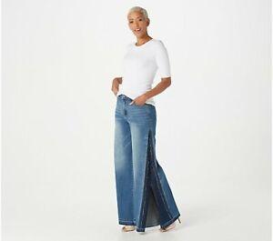 Peace Love World Super Wide Leg Jeans Plus Size 20 Medium Wash NEW