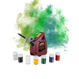 """Mauk Airbrush Kompressor Set komplett Kit Airbrushpistole Schlauch Farben """"Mini"""""""
