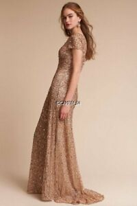 NEW BHLDN ANTHROPOLOGIE ADRIANNA PAPELL LUCENT CHAMPAGNE GOLD SEQUIN GOWN DRESS