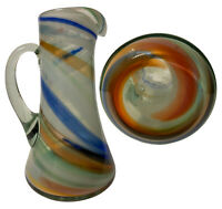 "Vintage Pitcher Vase Blue Green Handle Glass Jug Hand Blown Art 8"" Tall"