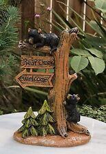 Miniature Dollhouse FAIRY GARDEN Figurine ~ Bear Creek Tree Welcome Sign w Cubs