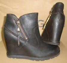 UGG Australia MYRNA Lodge Wedge Leather Sheepskin Boots Size US 6 NIB #1008715