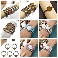 1/5/20Pcs Leather Bracelet Blank Setting Base Fit Glass Cabochon Gems Bezel Tray