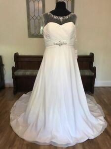 Ex Sample Berketex Hawaii A Line Illusion Chiffon Wedding Dress Gown  22