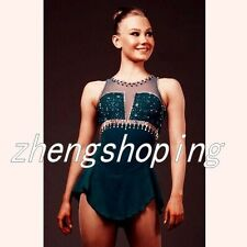 Ice Skating Dress Women's Competition Figure Skating Dress Hunter Green 8840-3