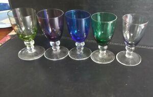 5 vintage harlequin multi coloured porto liqueur sherry glasses goblets