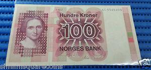 1982 Norway 100 Kroner Banknote Currency