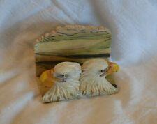 "Resin Letter Holder 2 Eagle Heads Measures 3 3/4"" Wide x 2"" Deep x 3"" High Back"