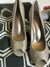Oro brillo zapatos talla 6 Alto Fiesta Boda Tribunal inteligente de cuña pee toe