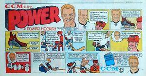 C.C.M. Hockey ad with Bobby Hull Power Skates - 1969 color cartoon comic ad page