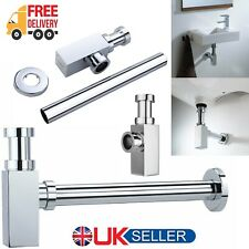 Square Basin Waste Bottle Trap Bathroom Kitchen Wash Sink Pipe Chrome Plate Tube