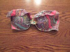 Victoria Secret Swim Suit Ruffle Bikini Top 34C Paisley With Multi Color Jewels