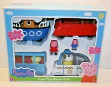 Peppa Pig's 4 Vehicles Playset Pack School Bus Boat Police Car Red Car 2 Figures