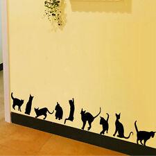 Chat autocollant Sticker mural noir muraux déco décoration chambre