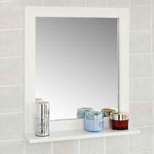 SoBuy® Wood Wall Bathroom Mirror with Shelf, Bathroom Storage Rack, FRG129-W,UK