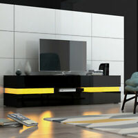 Modern Large Black TV Unit Cabinet Stand High Gloss & Matt Sideboard with LED UK