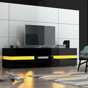 Modern Large Black TV Unit Cabinet Stand High Gloss & Matt Sideboard with LED UK