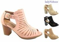 NEW Women's Open Toe Ankle Strap Chunky Heel Sandal Booties Shoes Size 5 - 10