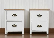 Pair of 2 Drawer Bedside Tables Brass Effect Cup Handles Wooden Top White