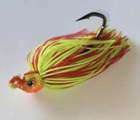 3  3/8oz Nuclear Chicken Glow Poison Tail Swim Jig Mustad Fluke, Sea Bass