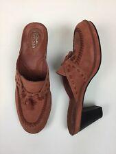 Clarks Artisian Womens 6.5 Shoe Heel Leather Mule Southwest Pink Tan Adobe
