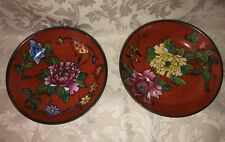 Set 2 Decorative Red Floral Porcelain 5� Bowls Wall Decor Hangers On Back