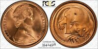 1966 Australian 1 cent PCGS - MS66RD Key Date Blunt 1st Whisker Mint State Gem