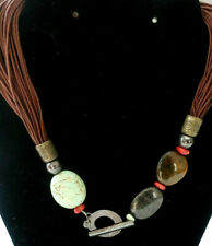 VTG Sterling 925 Silver Turquoise Coral TigersEye+ Leather MultiStrand Necklace