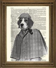 """Sherlock Holmes print: Beagle détective antique dictionnaire imprimer chien art (10x8 """")"""