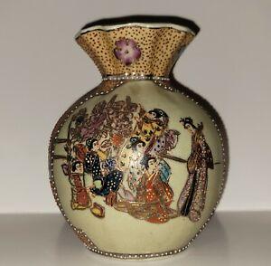 "Royal Satsuma Vase handpainted Beading Geisha flowers 7"""