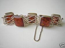 Antikes Fischland Armband Honig Natur Bernstein 835 Silber Amber Bracelet 24,3 g