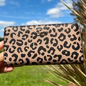 Kate Spade Darcy Large Slim Bifold Wallet in Leopard Print Black Multi