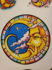 "Tattoo Flash Man in the Moon 11"" × 8"" laminated copy tattoo ideas y4"
