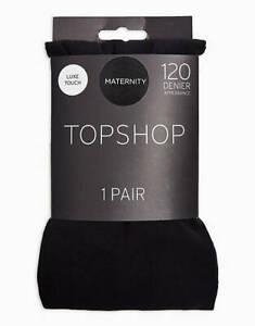 LADIES EX TOPSHOP MATERNITY SUPPORT TIGHTS BLACK 120 DENIER S/M M/L RRP £10