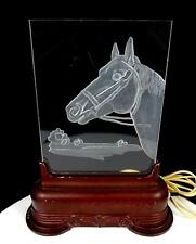 """MIDCENTURY HORSE ETCHED PLEXIGLASS TV LAMP WITH METAL BASE WORKING 10 3/4"""" 1950s"""