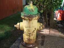 """1967 YELLOW/GREEN FIRE """" DARLING """"  CANADA VALVE """" FIRE HYDRANT FROM CANADA"""