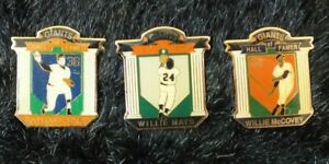 Vintage Lot of 3 SF Giants Hall of Famers Legends Pin Series Lapel Pins Full Set