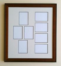 11x14 Brown Black Wood Ivory Black Core Matted Frame 2.5 x 3.5 ACEO 8 Openings
