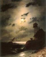 "Fine Oil Ivan Constantinovich Aivazovsky - Moonlit Seascape With Shipwreck 36"""