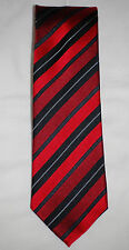 NWT Geoffrey Beene Men's 100% Silk Rich Red & Black Angled Striped Tie O/S