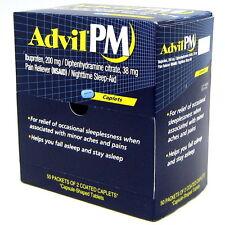 Advil PM Ibuprofen Nighttime Sleep Aid 200mg Coated Caplets, 50 Packets of 2