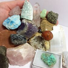 18 pc. Crystal Collection- Quartz, Amethyst, Pyrite, Selenite (Mineral Lot)