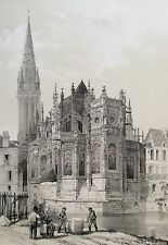 Grande estampe Abside de Saint Pierre de Caen Normandie 1865 Calvados France