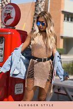 Women Rose Gold Metallic Chain Knitted Distressed Side Split Jumper Dress RRP-38