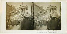 Carnaval de Nice Côte d'Azur France Plaque de verre stereo 1909